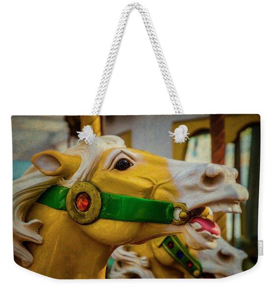 Moody  Carrousel Horse Weekender Tote Bag
