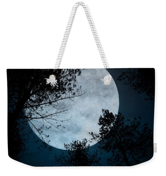 Weekender Tote Bag featuring the photograph Moon And Trees by Clayton Bastiani