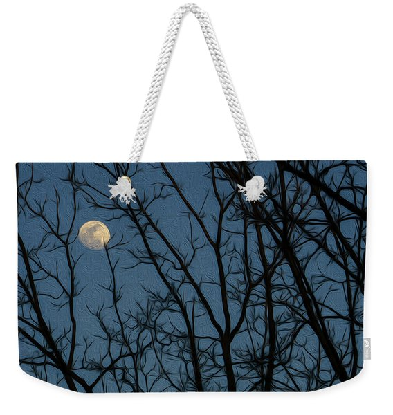 Moon At Dusk Through Trees - Impressionism Weekender Tote Bag