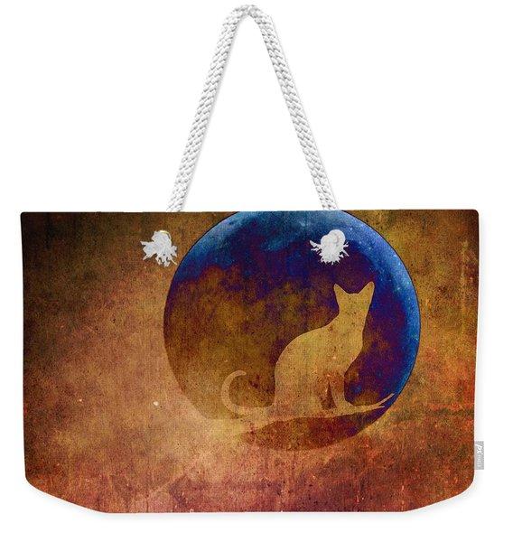 Moon Cat Weekender Tote Bag