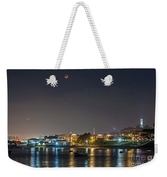 Moon Over Aquatic Park Weekender Tote Bag