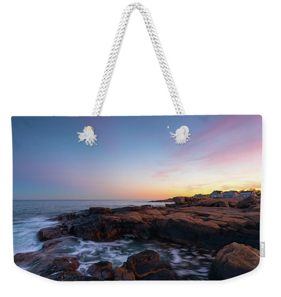 Moon Over Gloucester Sunset Weekender Tote Bag