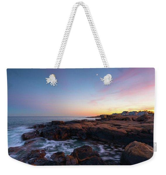 Moon Over Gloucester Sunset Weekender Tote Bag