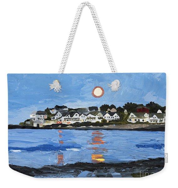 Moon Over York Beach Weekender Tote Bag