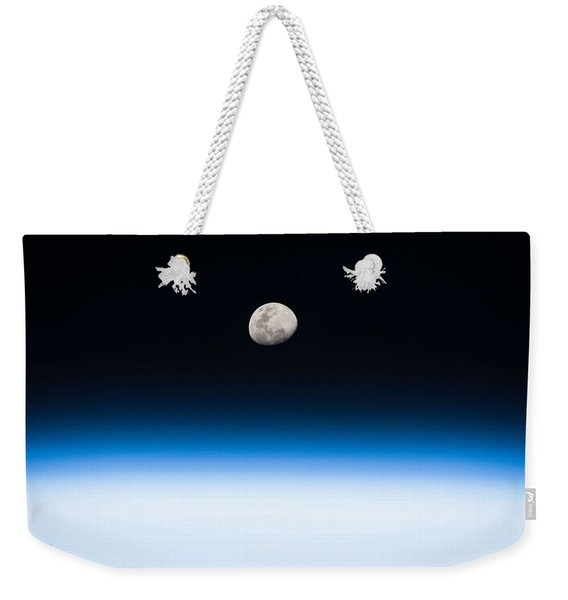 Moon Rise From The Space Station By Nasa Weekender Tote Bag