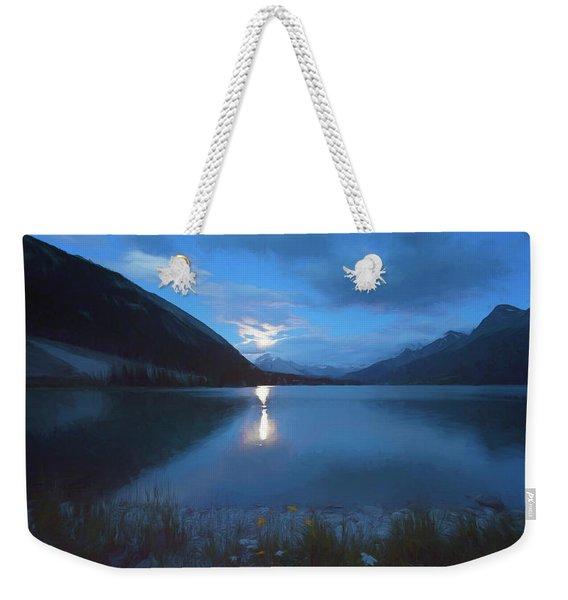 Moon Rise Goat Pond Alberta Canada Weekender Tote Bag