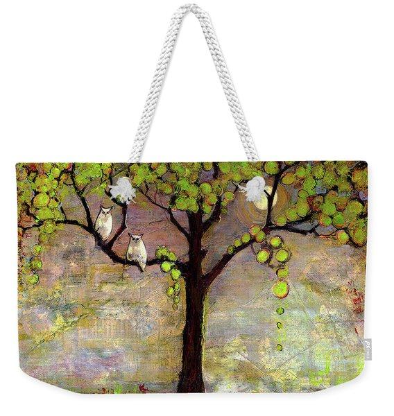 Moon River Tree Owls Art Weekender Tote Bag