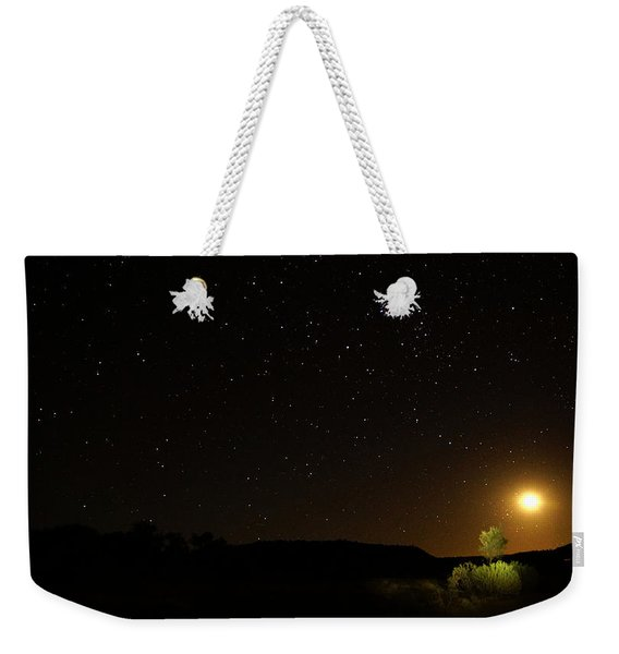 Moon Set Over Palm Valley Weekender Tote Bag