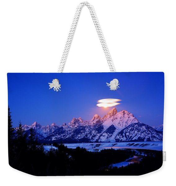 Moon Sets At The Snake River Overlook In The Tetons Weekender Tote Bag