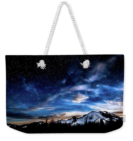 Moon Setting Behind Mt Rainier  Weekender Tote Bag