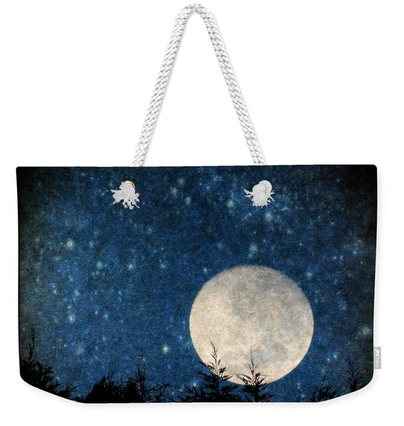 Weekender Tote Bag featuring the photograph Moon, Tree And Stars by Clayton Bastiani