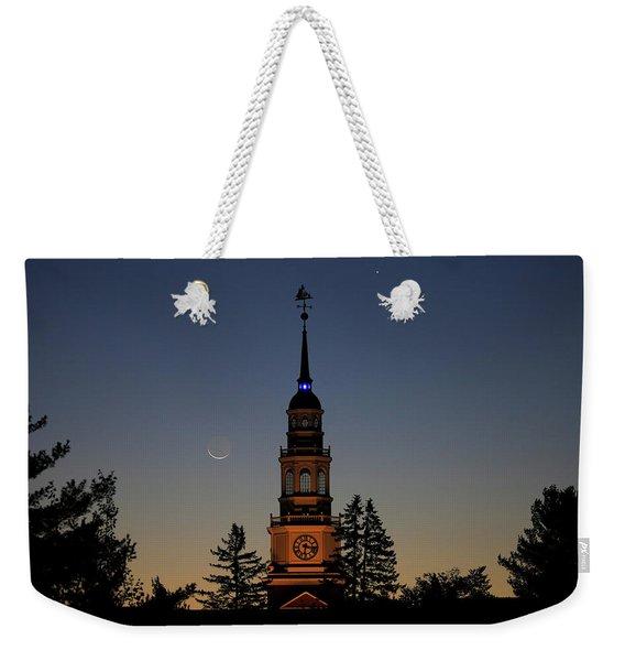 Moon, Venus, And Miller Tower Weekender Tote Bag