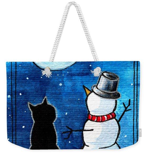Moon Watching With Snowman - Christmas Cat Weekender Tote Bag