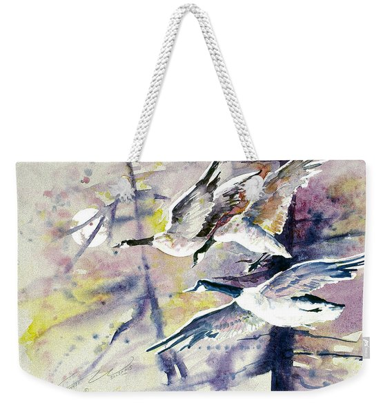 Moonlight Canadian Geese Weekender Tote Bag