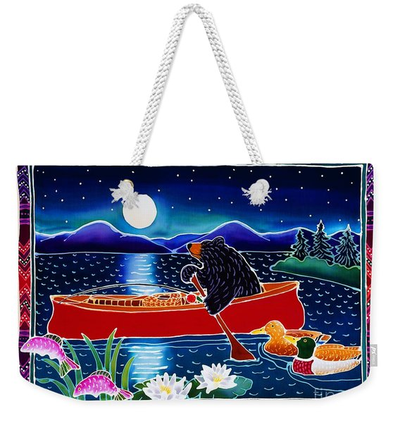 Moonlight On A Red Canoe Weekender Tote Bag