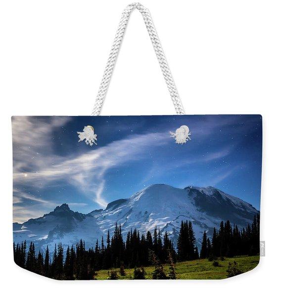 Moonlight On Mt Rainier Weekender Tote Bag