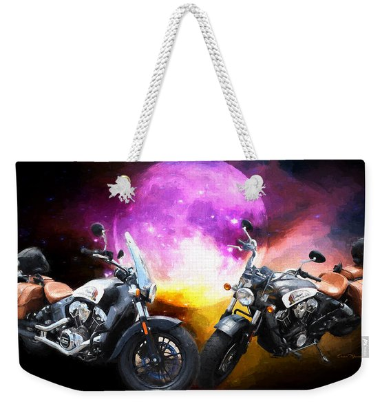 Moonlit Indian Motorcycle Weekender Tote Bag