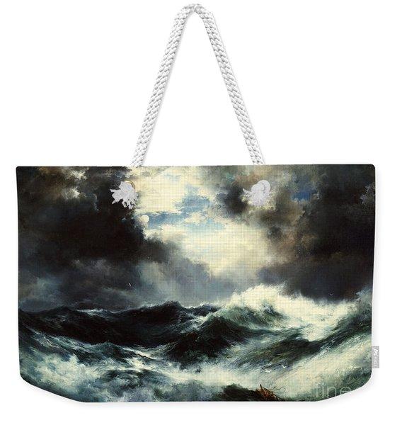 Moonlit Shipwreck At Sea Weekender Tote Bag