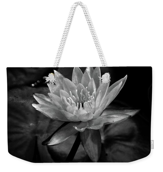 Moonlit Water Lily Bw Weekender Tote Bag
