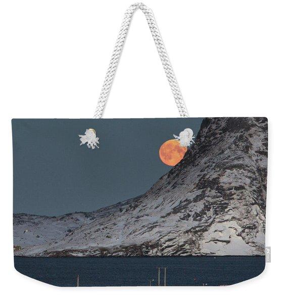 Moonrise In Reine Weekender Tote Bag