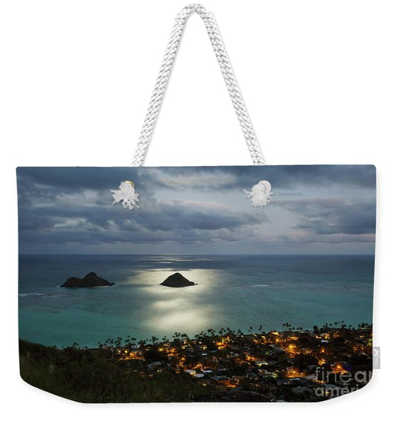 Weekender Tote Bag featuring the photograph Moonrise Over Lanikai by Charmian Vistaunet