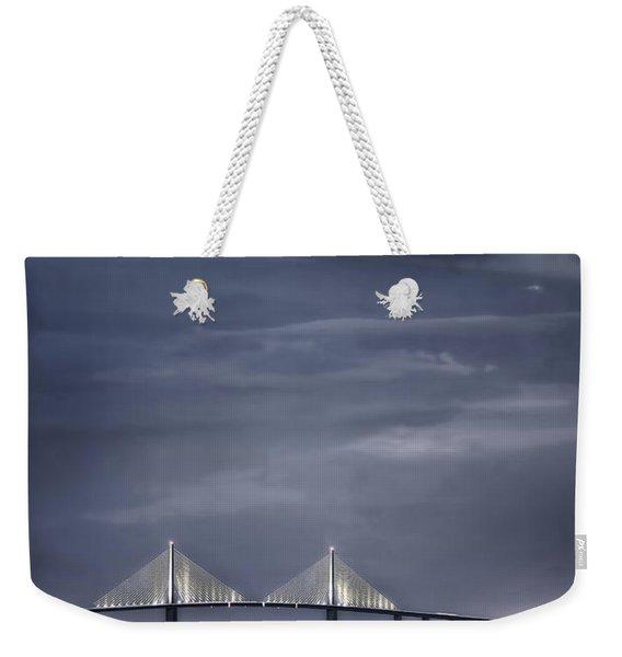 Moonrise Over Sunshine Skyway Bridge Weekender Tote Bag