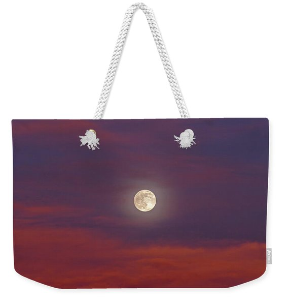 Weekender Tote Bag featuring the photograph Moonrise, Sunset by Jason Coward