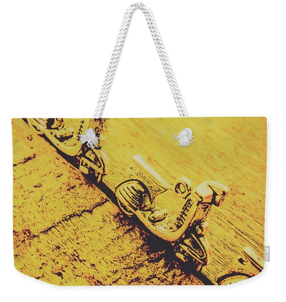 Moped Parking Lot Weekender Tote Bag