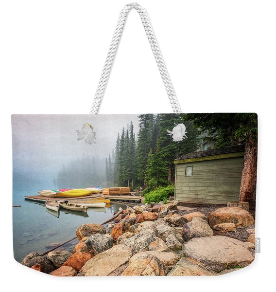 Moraine Lake And Boathouse Weekender Tote Bag
