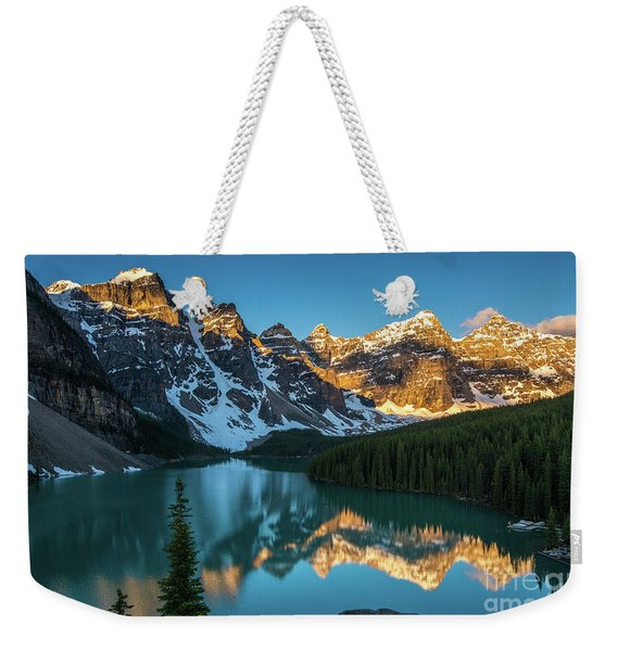 Moraine Lake Golden Alpenglow Reflection Weekender Tote Bag
