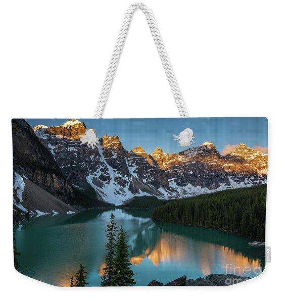 Moraine Lake Golden Sunrise Reflection Weekender Tote Bag