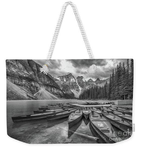 Moraine Lake In Black And White Weekender Tote Bag