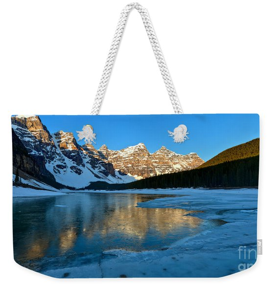 Moraine Lake Spring Sunrise Panorama Weekender Tote Bag