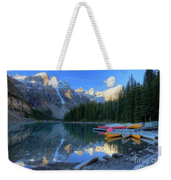 Moraine Lake Sunrise Blue Skies Canoes Weekender Tote Bag