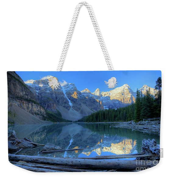 Moraine Lake Sunrise Blue Skies Logs Weekender Tote Bag