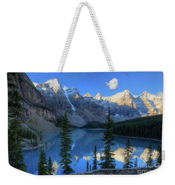 Moraine Lake Sunrise Blue Skies Weekender Tote Bag