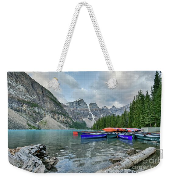 Moraine Logs And Canoes Weekender Tote Bag