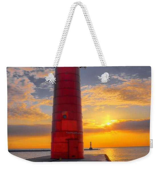 Morning At The Kenosha Lighthouse Weekender Tote Bag