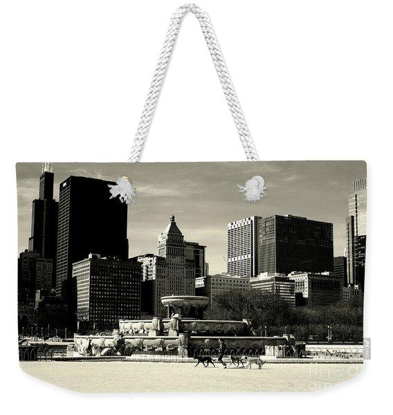 Morning Dog Walk - City Of Chicago Weekender Tote Bag