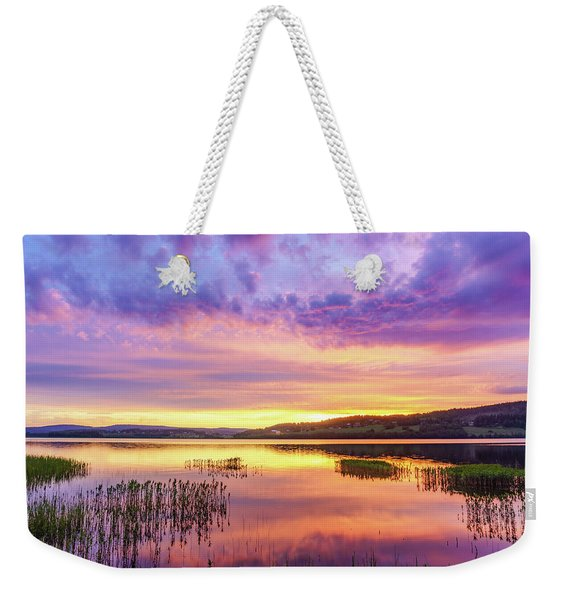Weekender Tote Bag featuring the photograph Morning Fire by Dmytro Korol