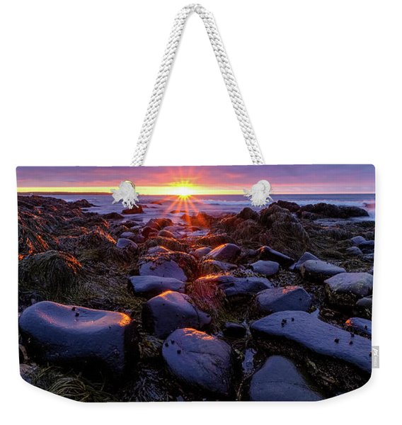 Weekender Tote Bag featuring the photograph Morning Fire, Sunrise On The New Hampshire Seacoast  by Jeff Sinon