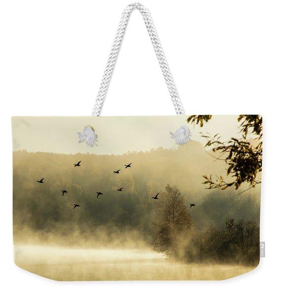 Morning Fog On Haley Pond In Rangeley Maine Weekender Tote Bag