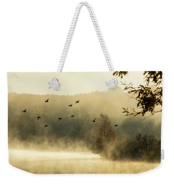 Weekender Tote Bag featuring the photograph Morning Fog On Haley Pond In Rangeley Maine by Jeff Folger