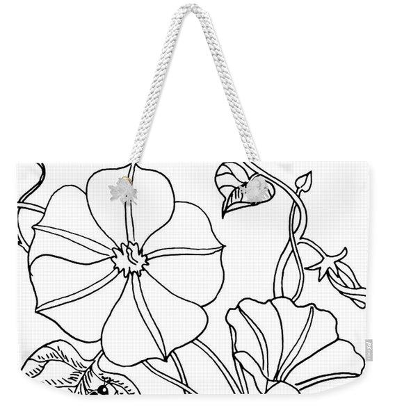 Morning Glory And Ladybug Drawing  Weekender Tote Bag