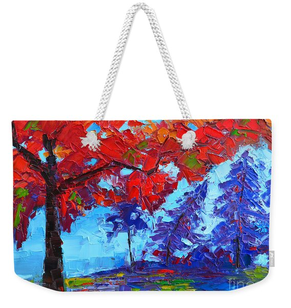 Morning Mist Landscape - Modern Impressionistic Palette Knife Oil Painting Weekender Tote Bag