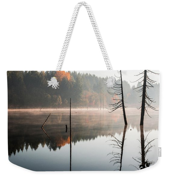 Morning Mist On A Quiet Lake Weekender Tote Bag