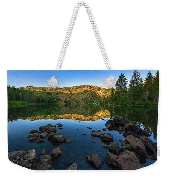 Morning Reflection On Castle Lake Weekender Tote Bag