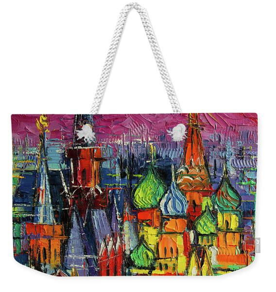 Moscow Red Square View Textural Impressionist Stylized Cityscape Weekender Tote Bag