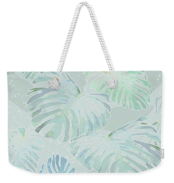 Mossy Faded Monstera Light Weekender Tote Bag