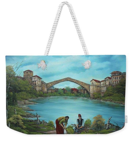 Mostar Bridge Story Weekender Tote Bag